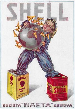 "1928 * Advertising Original ""Shell - Globo Terrestre - BASSI"" in Passepartout"