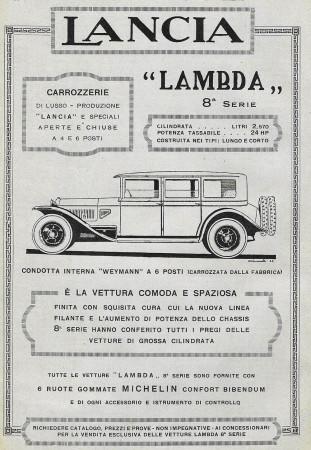 """1928 * Advertising Original """"Lancia - Lambda 8° Serie - Weymann 6 Posti"""" in Passepartout"""