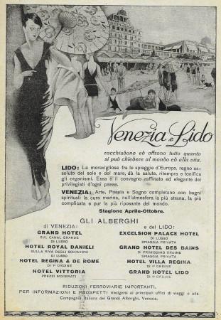 """1928 * Advertising Original """"Lido Venezia - Gli Alberghi Aprile-Ottobre"""" in Passepartout"""