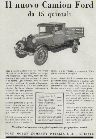 "1929 * Advertising Original ""Ford - Il Nuovo Camion da 15 Quintali"" in Passepartout"