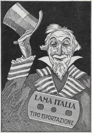 """1929 * Advertising Original """"Lama Italia - Tipo Esportazione"""" in Passepartout"""