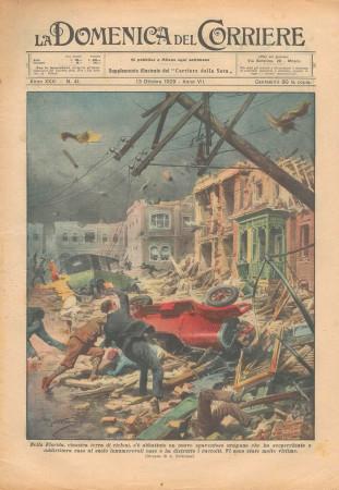 """1929 * Original Historical Magazine """"La Domenica Del Corriere (N°41) - Ciclone in Florida"""""""
