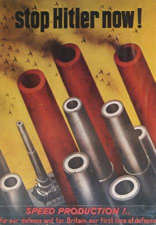 """ND (WWII) * War Propaganda Reproduction """"USA - Adesso Fermiamo Hitler!"""" in Passepartout"""