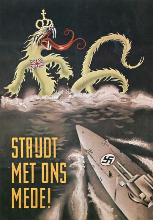 """ND (WWII) * War Propaganda Reproduction """"Germania - Combattete Con Noi!"""" in Passepartout"""