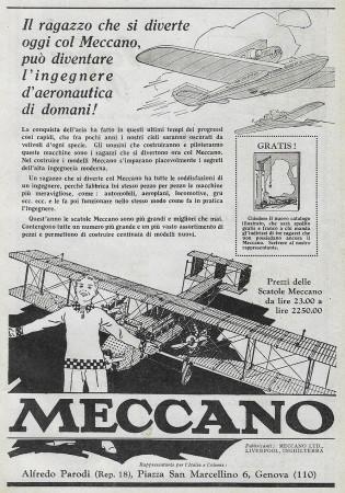 """1928 * Advertising Original """"Meccano - Aereo"""" in Passepartout"""