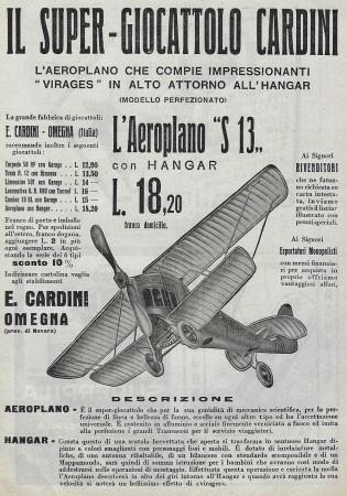 """1929 * Advertising Original """"Cardini - Aeroplano S 13"""" in Passepartout"""