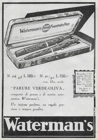 "1929 * Advertising Original ""Waterman's - Parure Verde-Oliva"" in Passepartout"