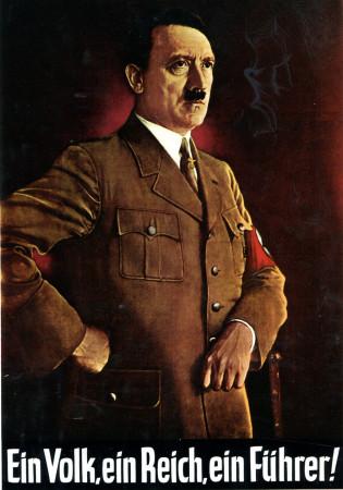 """ND (WWII) * War Propaganda Reproduction """"Germania - Un Popolo, Uno Stato, Un Führer"""" in Passepartout"""