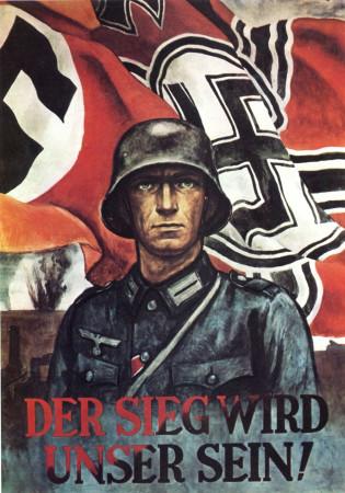 """ND (WWII) * War Propaganda Reproduction """"Germania - La Vittoria Sarà Nostra!"""" in Passepartout"""