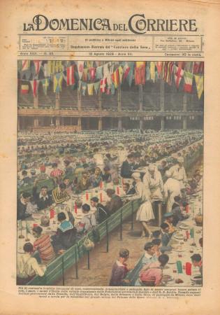 """1929 * Original Historical Magazine """"La Domenica Del Corriere (N°33) - Colonie Organizzate dalle Federazioni Provinciali Fasciste"""""""