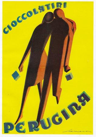 """1928 * Advertising Original """"Perugina - Cioccolatini - SENECA"""" Coloured in Passepartout"""