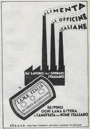 """1928 * Advertising Original """"Lama Italia - Alimenta Le Officine Italiane"""" in Passepartout"""