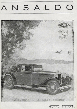"1929 * Advertising Original ""Ansaldo - Mod 14 e 15, Gomme Pirelli"" in Passepartout"