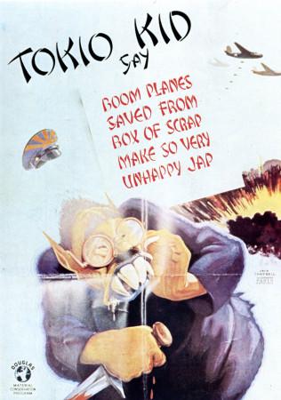 "ND (WWII) * War Propaganda Reproduction ""USA - Tokio Kid Dice"" in Passepartout"