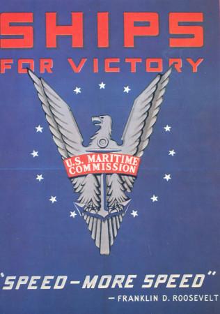 """ND (WWII) * War Propaganda Reproduction """"USA - Navi Per La Vittoria"""" in Passepartout"""