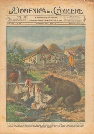 """1929 * Original Historical Magazine """"La Domenica Del Corriere (N°36) - Orso Aggredisce Due Donne"""""""