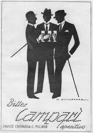 "1928 * Advertising Original ""Campari Bitter –  L'Aperitivo - GUILLERMAZ"" in Passepartout"