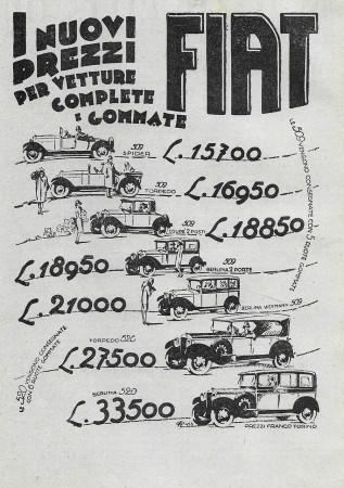 "1928 * Advertising Original ""Fiat - I Nuovi Prezzi Per Vetture"" in Passepartout"