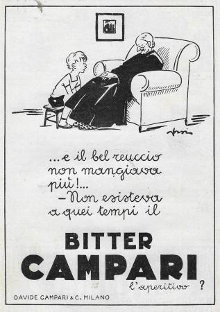 """1929 * Advertising Original """"Campari Bitter - E Il Bel Reuccio Non Mangiava Più – ORSI"""" in Passepartout"""