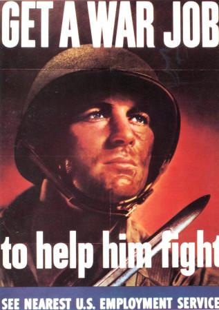 """ND (WWII) * War Propaganda Reproduction """"USA - Lavorando Per L'Esercito Lo Aiuterete A Combattere"""" in Passepartout"""