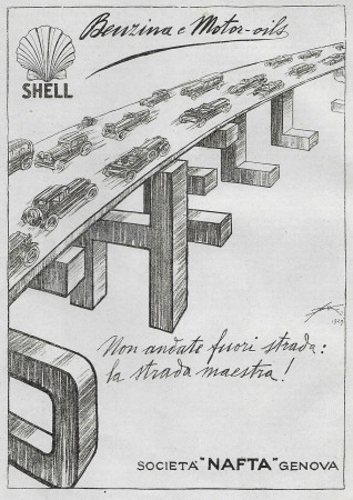 "1930 * Advertising Original ""Shell - Benzina - ALDO MAZZA"" in Passepartout"