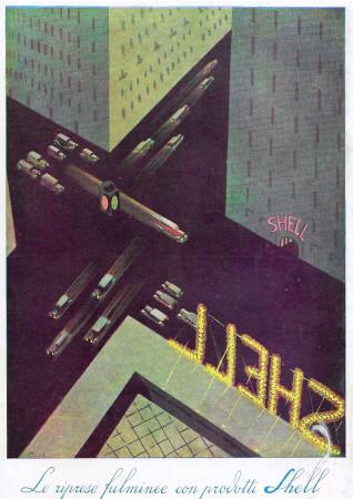 "1932 * Advertising Original ""Shell - Riprese Fulminee"" in Passepartout"