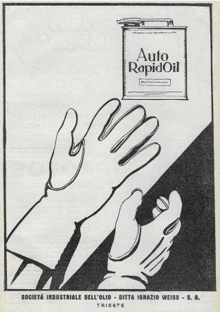 """1928 * Advertising Original """"Auto Rapid Oil - Guanti"""" in Passepartout"""