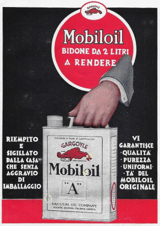 "1928 * Advertising Original ""Mobiloil - Bidone Da 2 Litri"" in Passepartout"