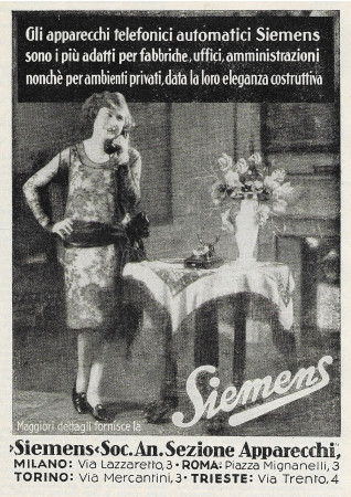 "1928 * Advertising Original ""Siemens - Apparecchi Telefonici Automatici"" in Passepartout"