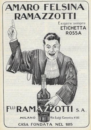 "1929 * Advertising Original ""Amaro Felsina Ramazzotti - Etichetta Rossa"" in Passepartout"