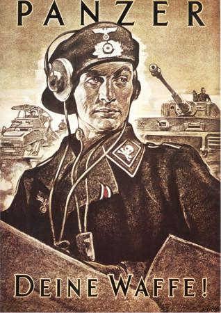 """ND (WWII) * War Propaganda Reproduction """"Germania - I Panzer: La Tua Arma!"""" in Passepartout"""