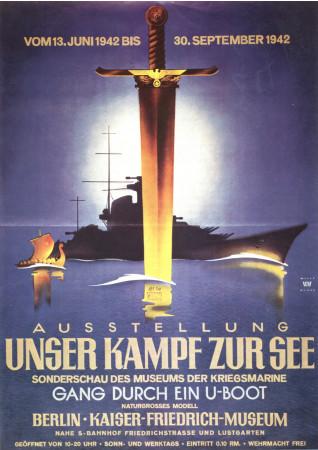 """ND (WWII) * War Propaganda Reproduction """"Germania - La Nostra Battaglia Sul Mare"""" in Passepartout"""