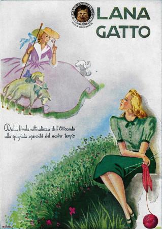 "1941 * Advertising Original ""Lana Gatta - BONORA"" in Passepartout"