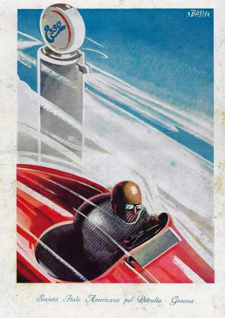 "1932 * Advertising Original ""Esso - Società Italo Americana Petrolio - BASSI"" Coloured in Passepartout"