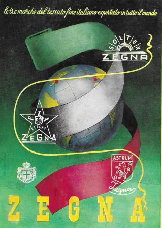"""1939 * Advertising Original """"Electa Zegna - Marche Tessuto Italiano Per Il Mondo"""" in Passepartout"""
