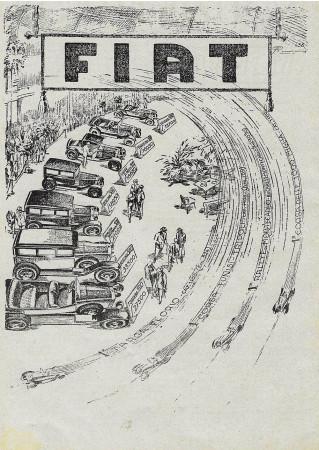 """1928 * Advertising Original """"Fiat - Corse"""" in Passepartout"""