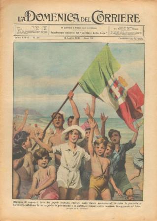 """1934 * La Domenica Del Corriere (N°28) """"Colonie Estive Fasciste inneggiano al DUCE"""" Original Magazine"""