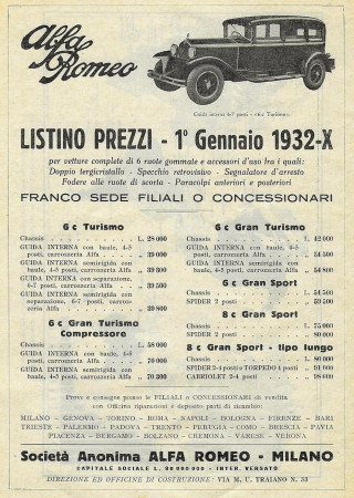 "1932 * Advertising Original ""Alfa Romeo - Listino Prezzi 01/01/1932"" in Passepartout"