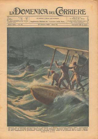 """1929 * Original Historical Magazine """"La Domenica Del Corriere (N°42) - Piroscafo Duce Soccorre Idroplano Francese"""""""