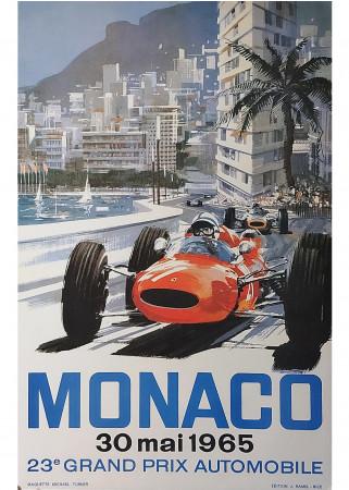 """1965 * Poster Original """"Gran Premio di Monaco, Formula 1 - MICHAEL TURNER"""" (A)"""