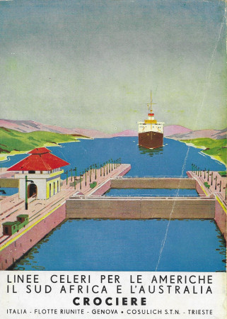 """1936 * Advertising Original """"Italia Flotte Riunite - Canale Panama"""" in Passepartout"""
