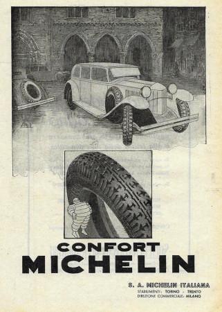"1932 * Advertising Original ""Michelin - Confort"" in Passepartout"