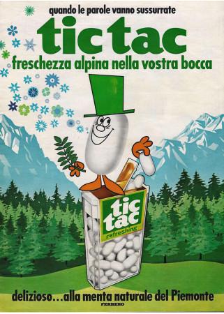 "Anni '60 * Advertising Original ""Ferrero Caramelle TicTac, Freschezza alpina alla Menta"" in Passepartout"