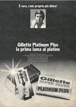 """70 's * Advertising Original """"Gillette Platinum Plus, La Prima Lama al Platino"""" in Passepartout"""