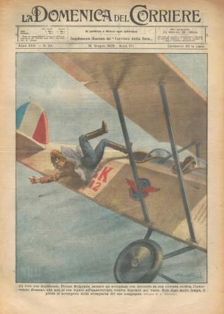 """1929 * Original Historical Magazine """"La Domenica Del Corriere (N°24) - Un Volo Non Desiderato"""""""