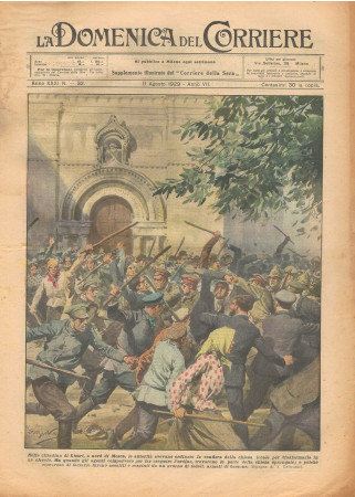 """1929 * Original Historical Magazine """"La Domenica Del Corriere (N°32) - Proteste per Confisca Chiesa a Limri"""""""