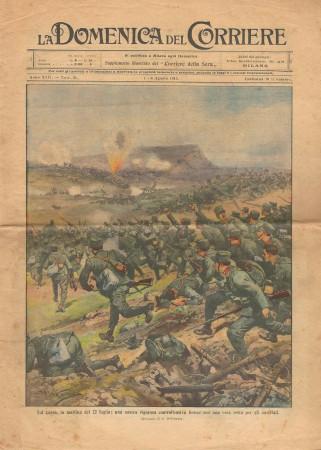 """1915 * La Domenica Del Corriere (N°31) """"Controffensiva sul Carso - Cattura sul Monte Nero"""" Original Magazine"""