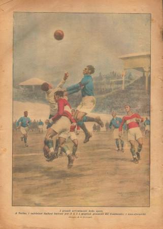 """1926 * La Domenica Del Corriere (N°5) """"Italia batte Cecoslovacchia"""" Original Magazine"""