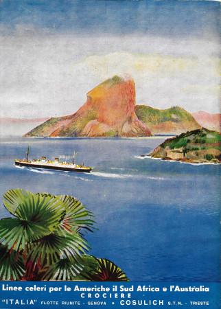 "1936 * Advertising Original ""Cosulich - Linee Celeri Americhe, Sudafrica, Australia"" in Passepartout"