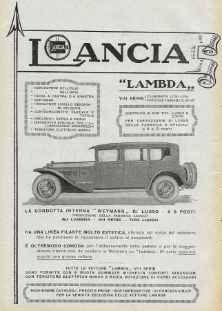 "1928 * Advertising Original ""Lancia - Lambda Lungo E Corto"" in Passepartout"